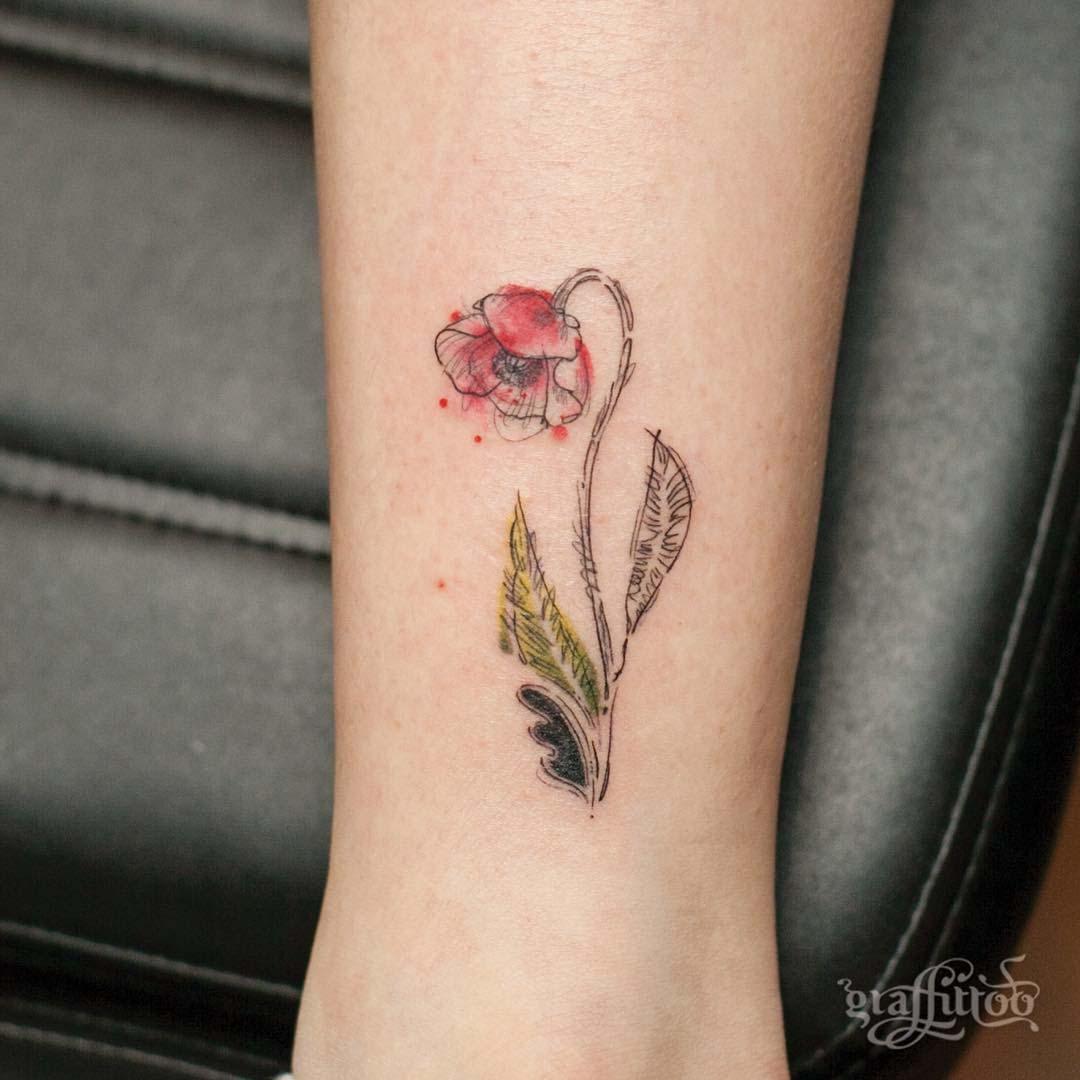 poppy flower small tattoo