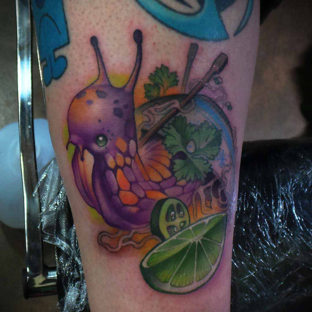 lime snail tattoo new school