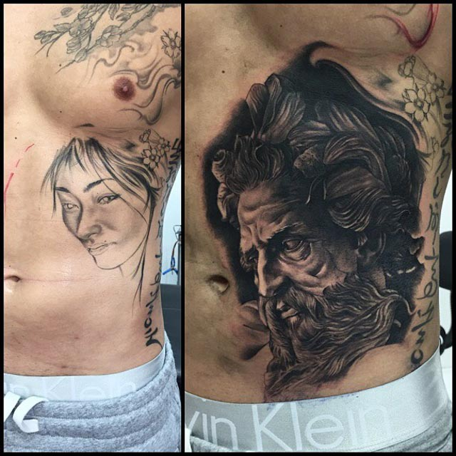Stomach Side Tattoo Cover Up