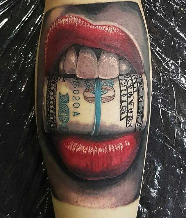 bucks red lips tattoo