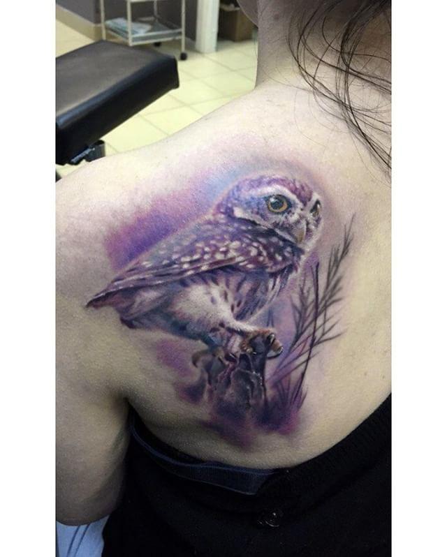 shoulder blade owl tattoo purple