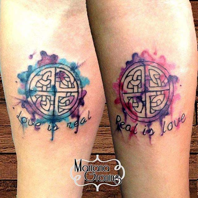 Watercolor Love Symbol Tattoo