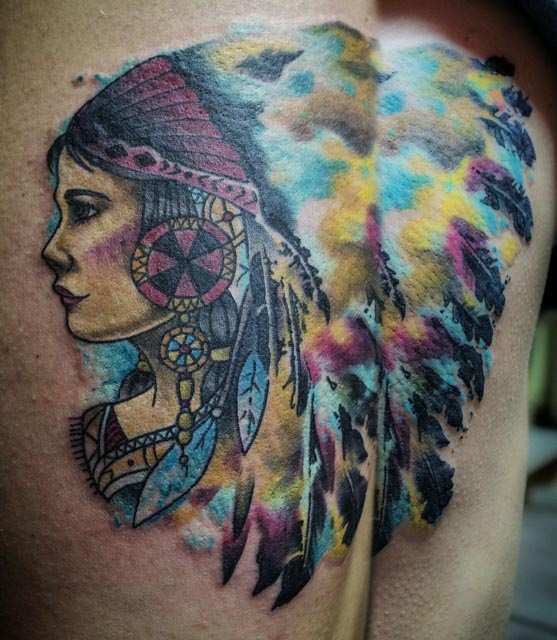 Watercolor Tattoo Indiana by Chaz Garner