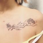 Waves Collar Bone Tattoo