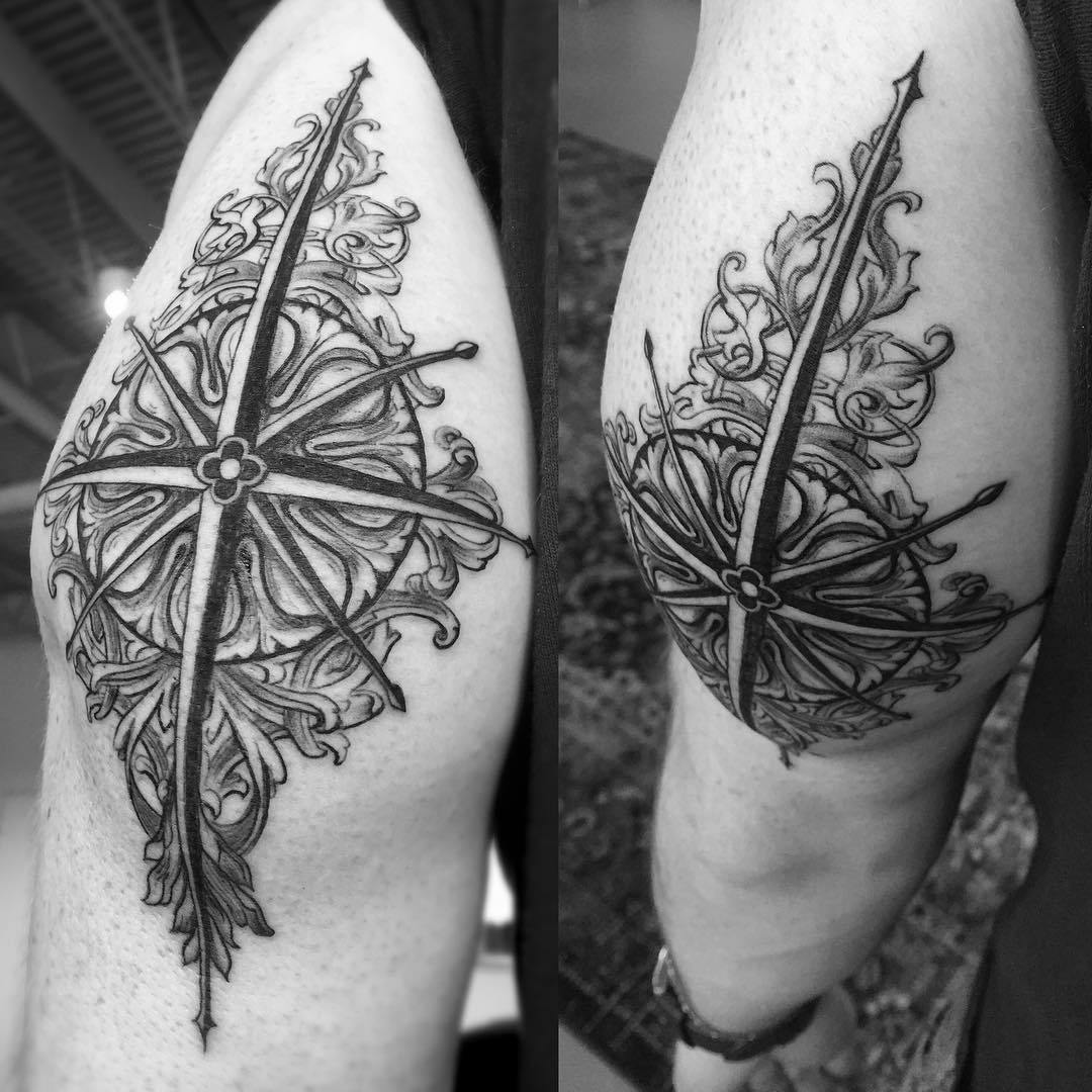 Baroque Tattoo Compass Rose by timewalkertattoo