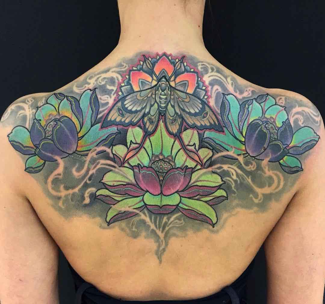 Lotus Flowers tattoo on back