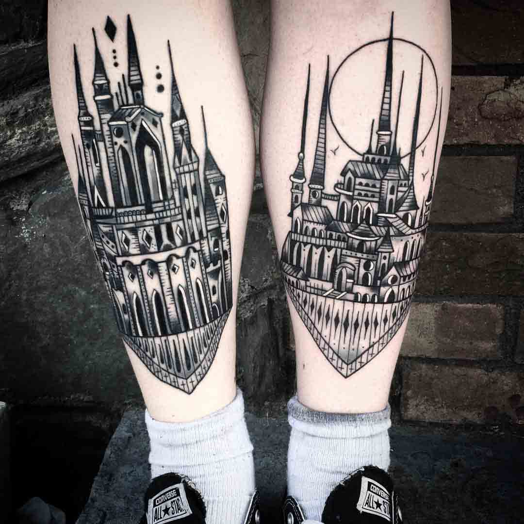 Castle Tattoo Designs by saschi_ink