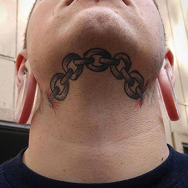 Chin Chain Tattoo by @waynefredrickson
