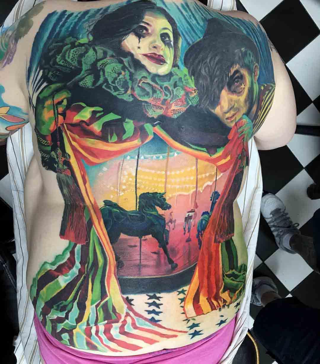 full back circus tattoo carousel