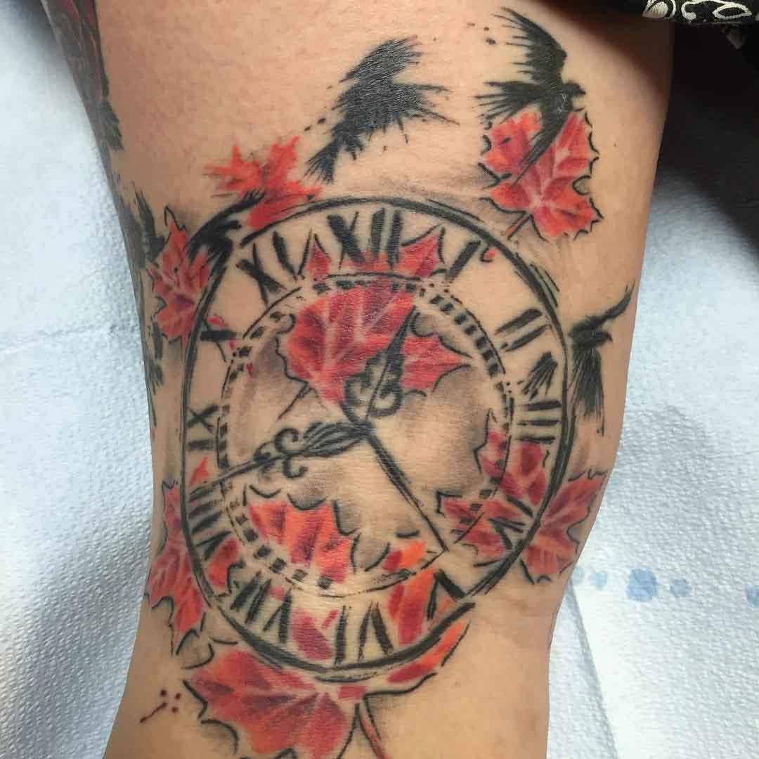 trash polka tattoo clock