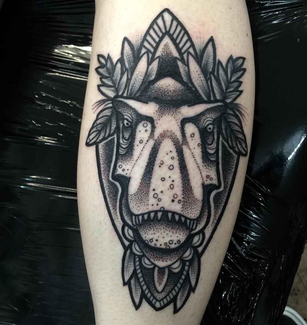 Dino Calf Tattoo by annmarie.cahill