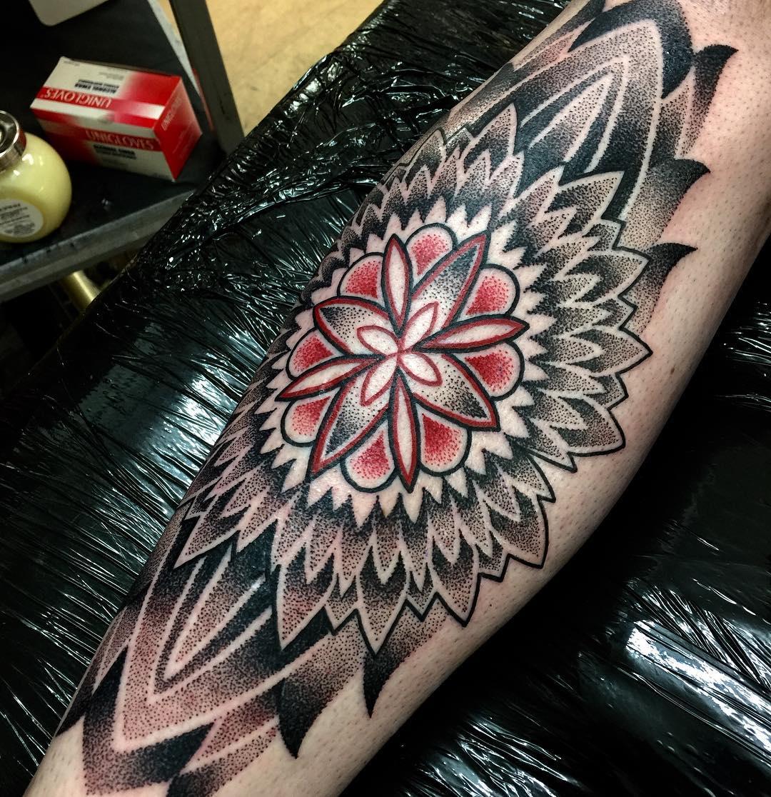 Dotwork Mandala Tattoo on Shin by annmarie.cahill