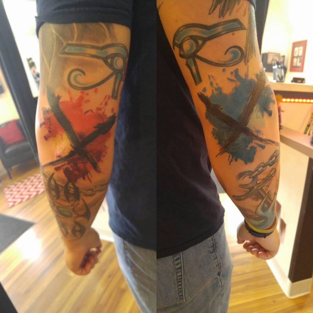 Elbow Tattoos Crosses Trash Polka by broadwaytattoollc