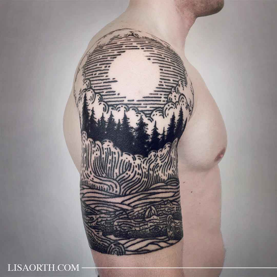 Etching Tattoo Landscape by lisaorth