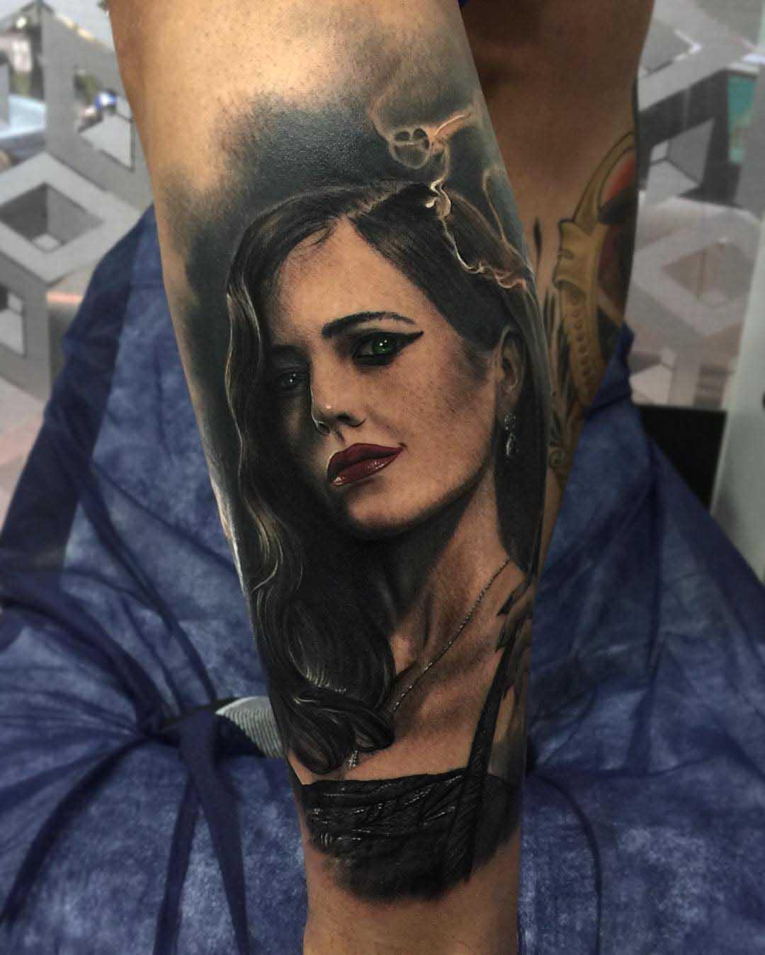 realistic portrait Eva Green