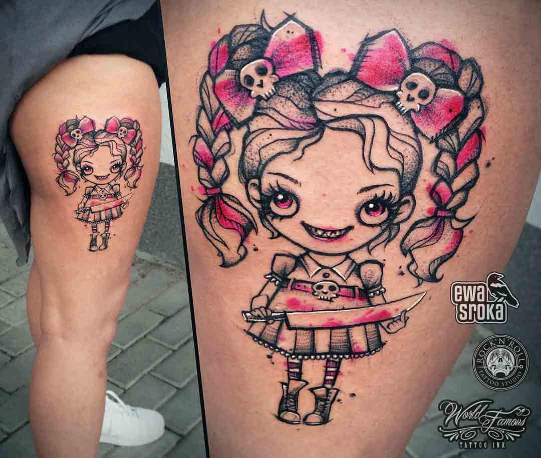 Pink doll tattoo evil