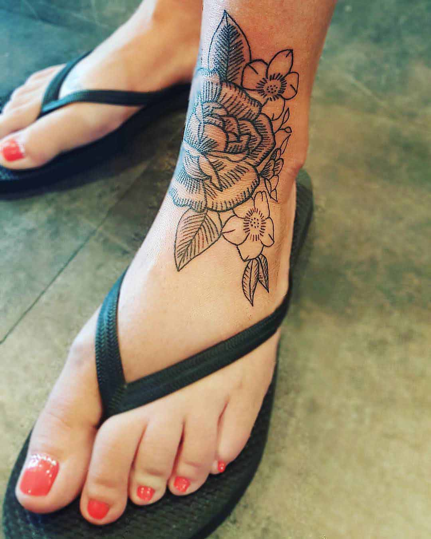 Flower Ankle Tattoo by meganthetattooist