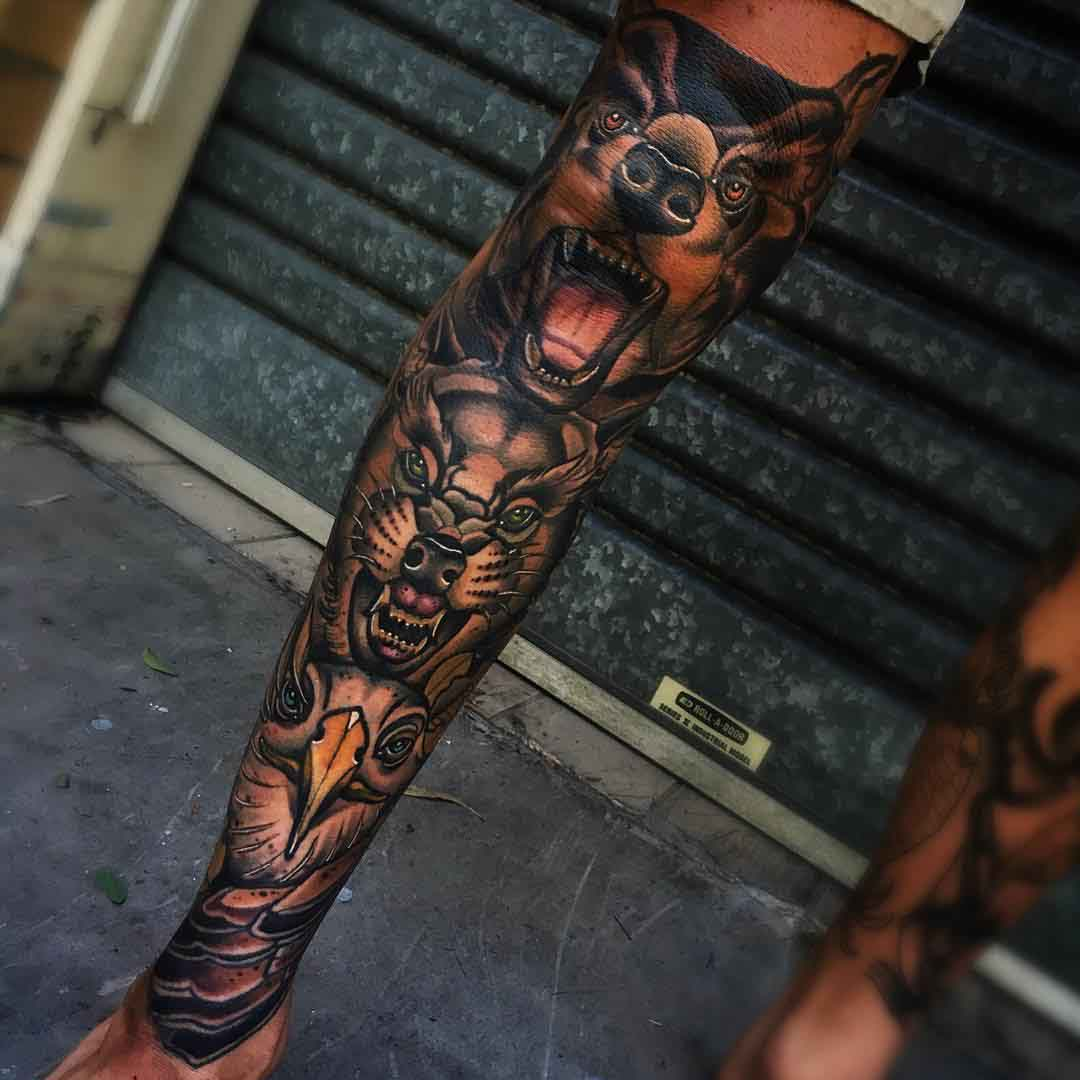 Full Leg Animalistic Sleeve by jesse_t_tattoos