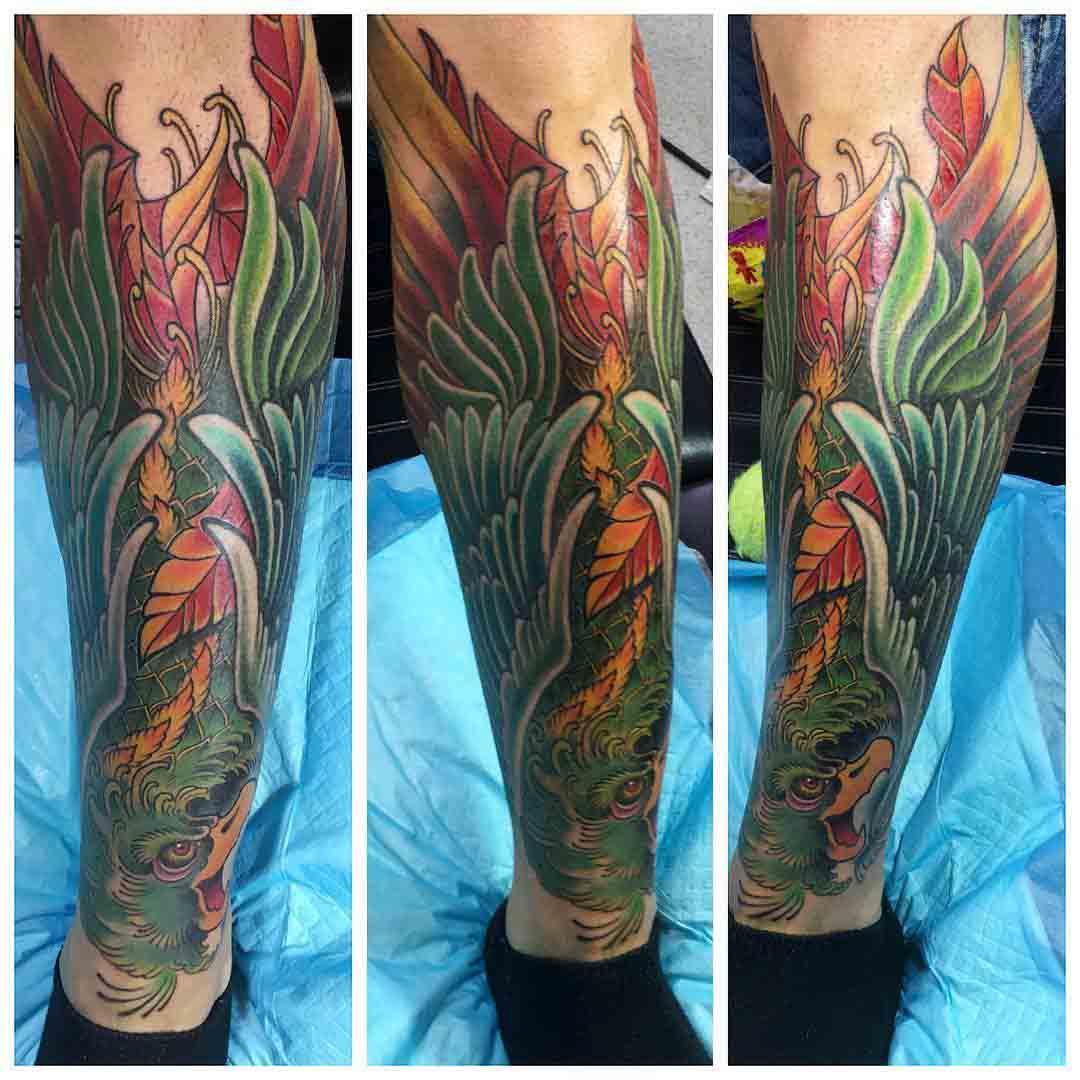 Green Bird Shin Tattoo by ryannn189