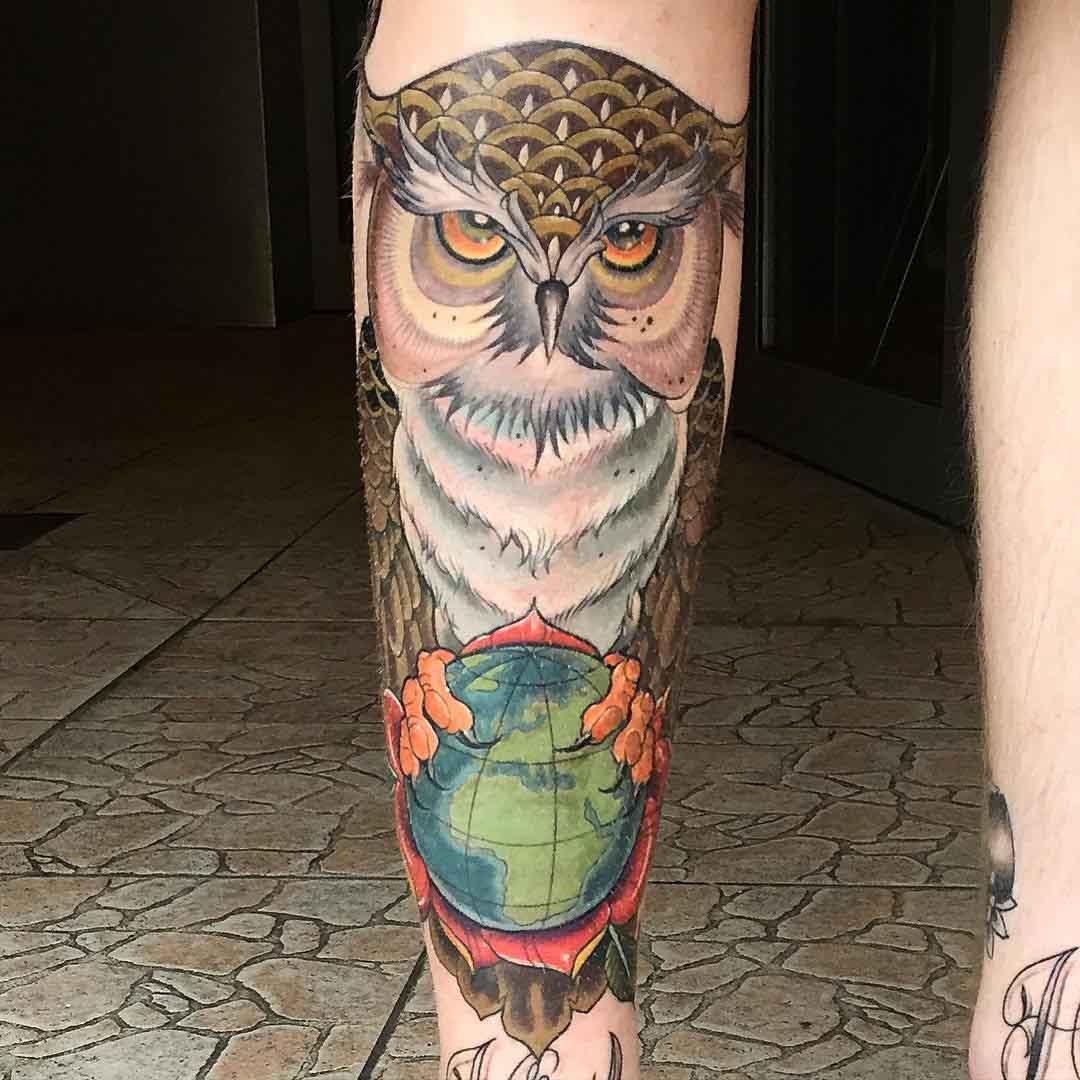 Owl on Globe Shin Tattoo by matstache
