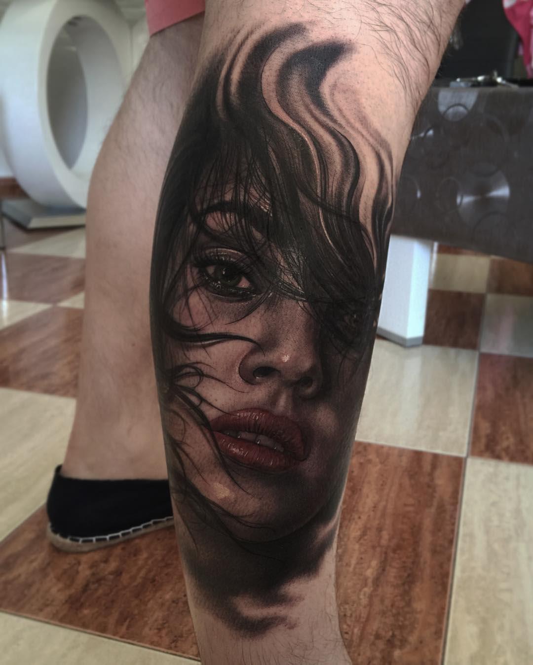 leg tattoo realistic portrait