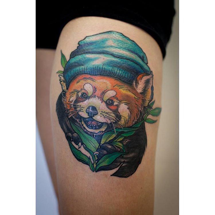 new school tattoo red panda