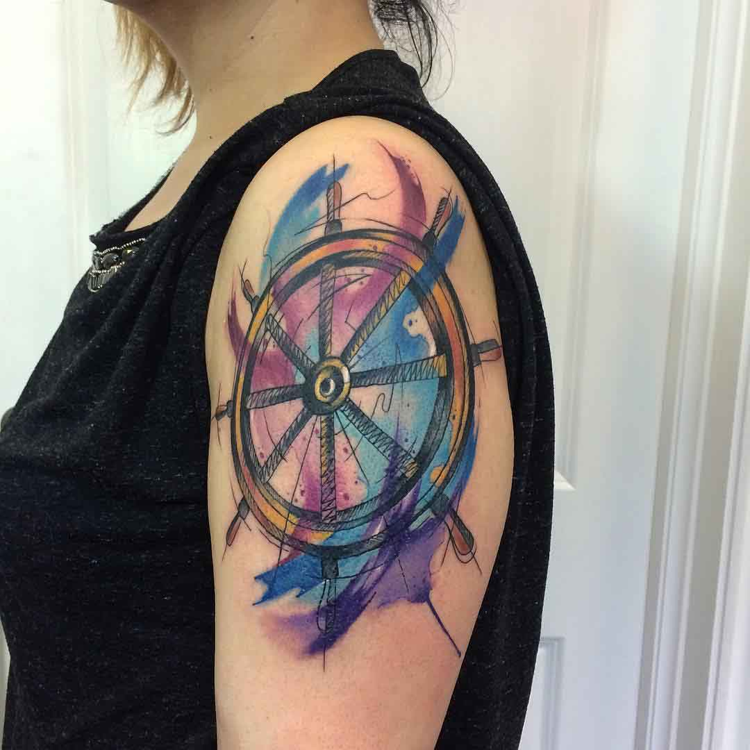 shoulder steering wheel tattoo watercolor