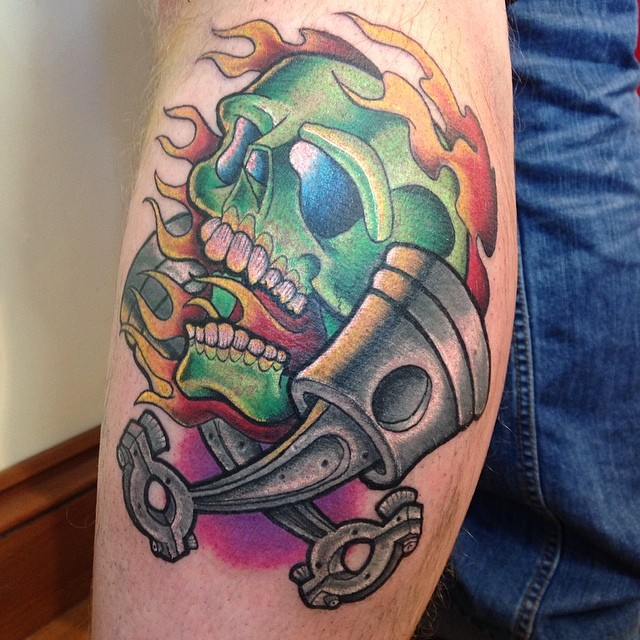 Skull Pistons Tattoo by jptattooist