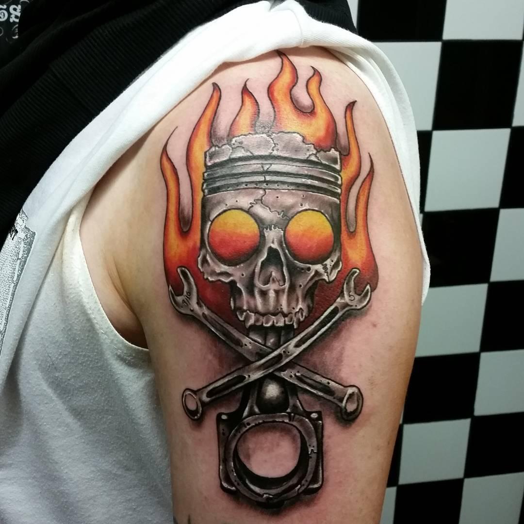 Skull and Piston Tattoo by glen_andreozzi_tattoo