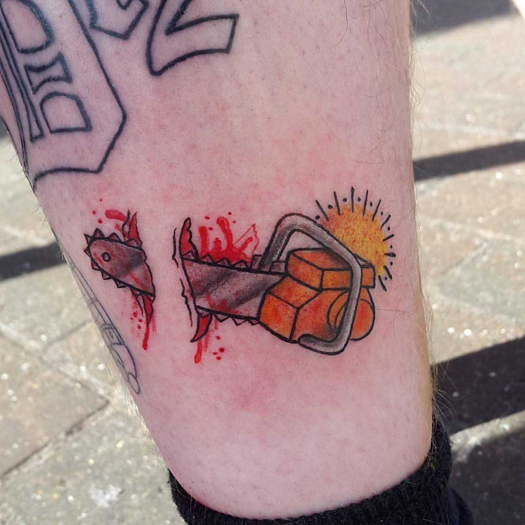 Small Chainsaw Shin Tattoo by _braceforimpact