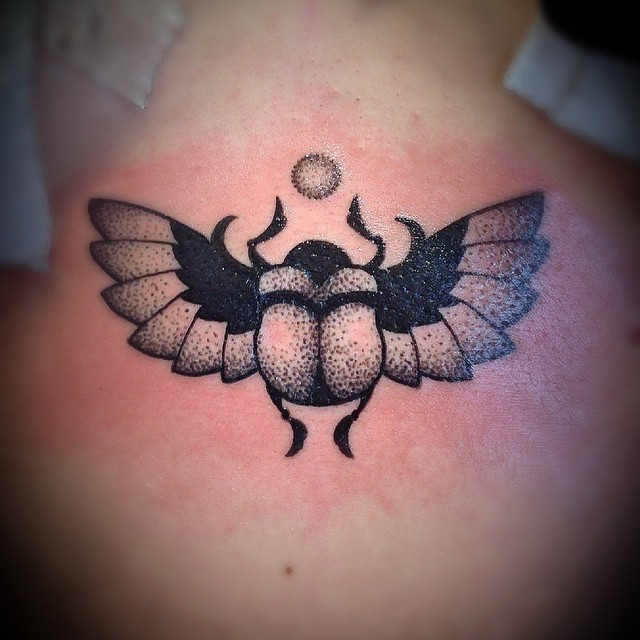 Small Scarab Tattoo Dotwork by clodin_93