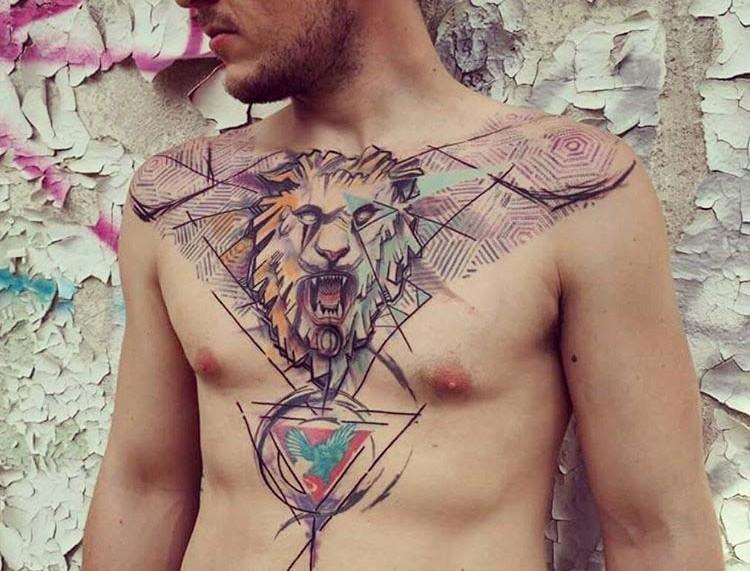 big cool lion chest tattoo