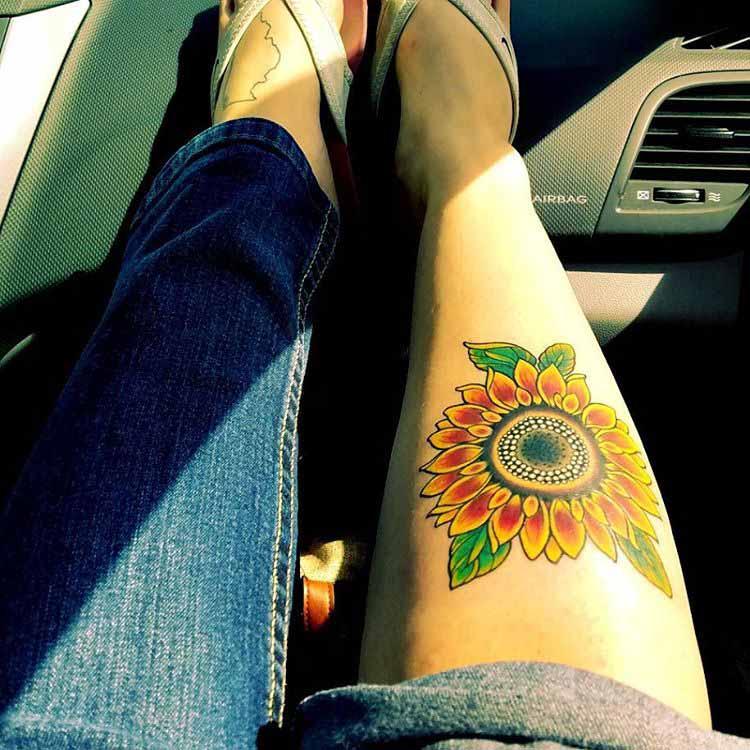 Tattoo Sunflower by @inkbyjanice