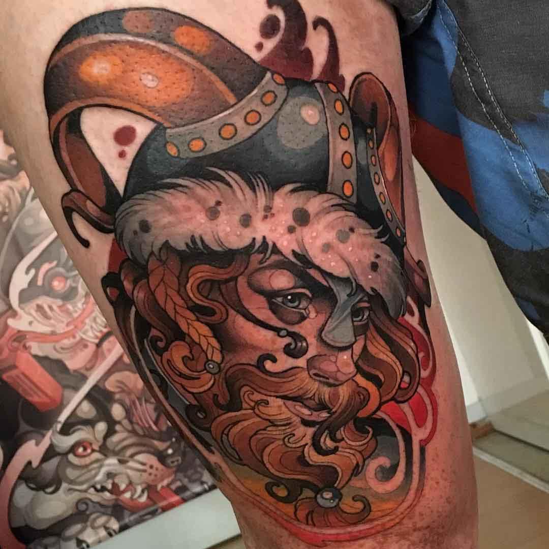red beard tattoo viking