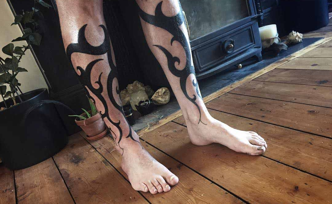 LEg Tattoos Tribal