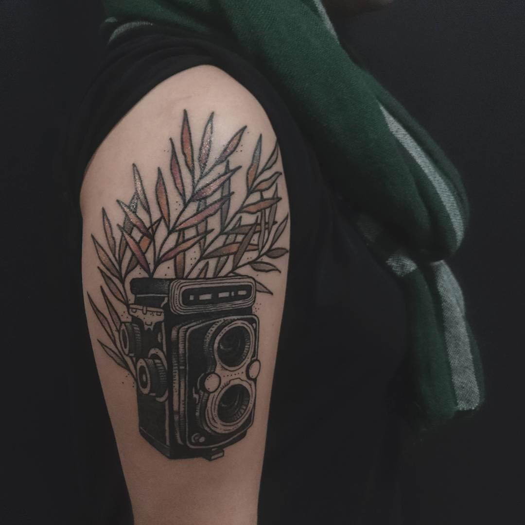 old camera tattoo