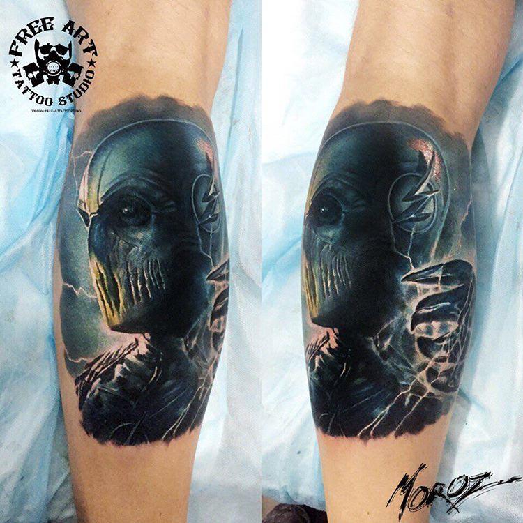 calf tattoo superhero