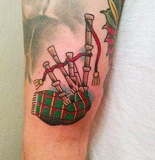 Bagpipes Tartan Tattoo by Chris Gemmell