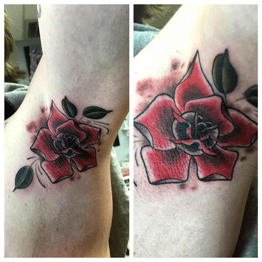 Cool Rose Tattoo Armpit by mantis.tamer