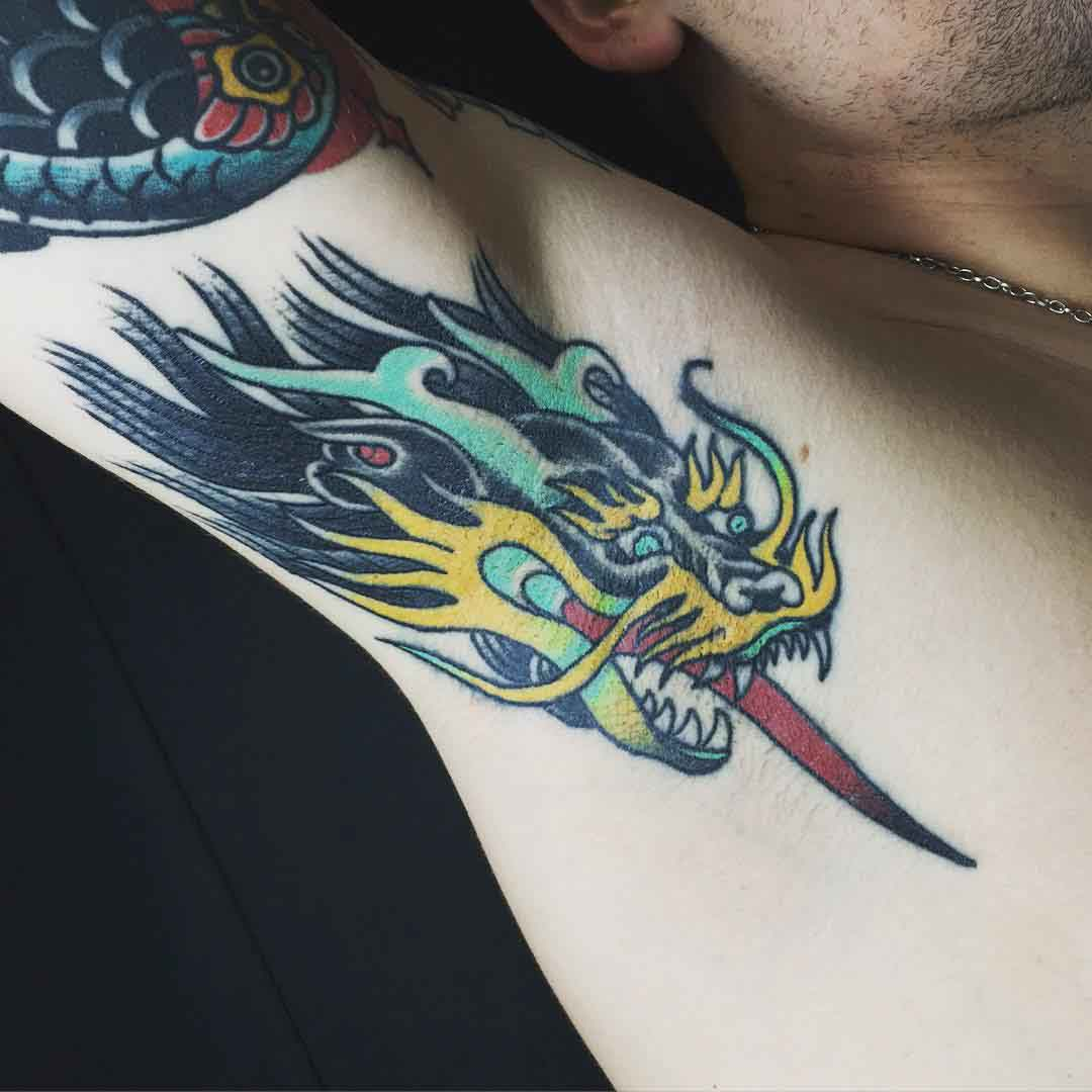 Dragon Tattoo on Armpit by sogtattoos
