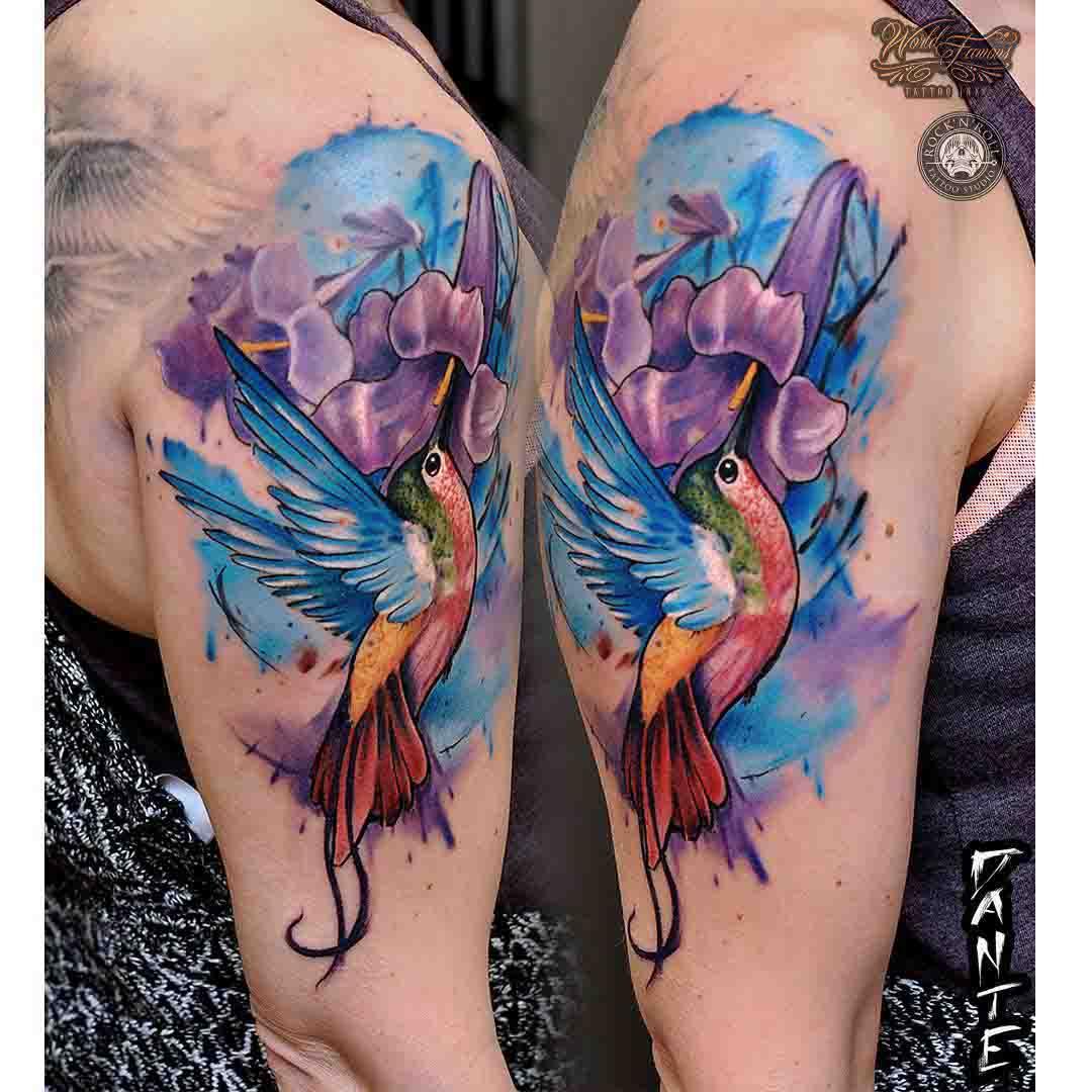 watercolor shoulder tattoo hummingbird