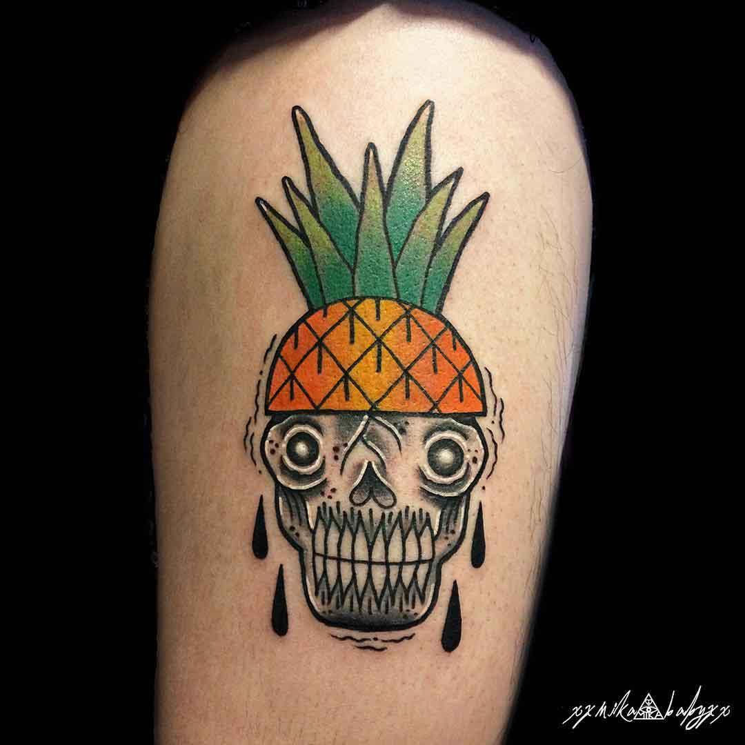 skull tattoo pineapple