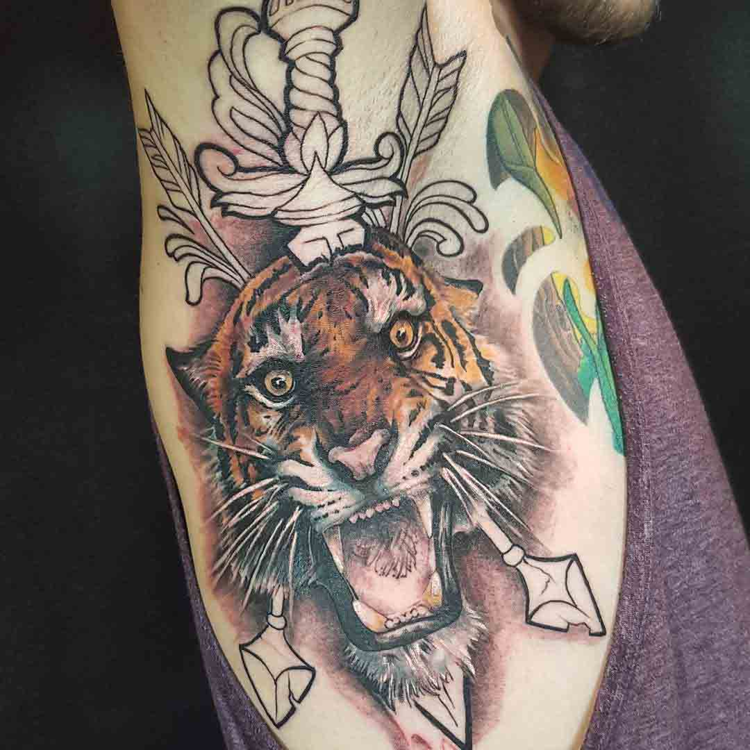 Tiger Tattoo on Armpit by leeanne_kennedy