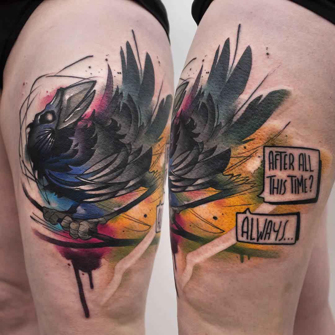 crow tattoo on shoulder