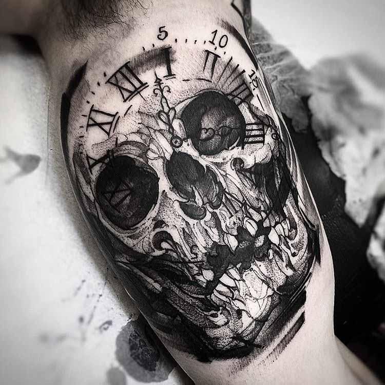 inner arm tattoo skull ckock