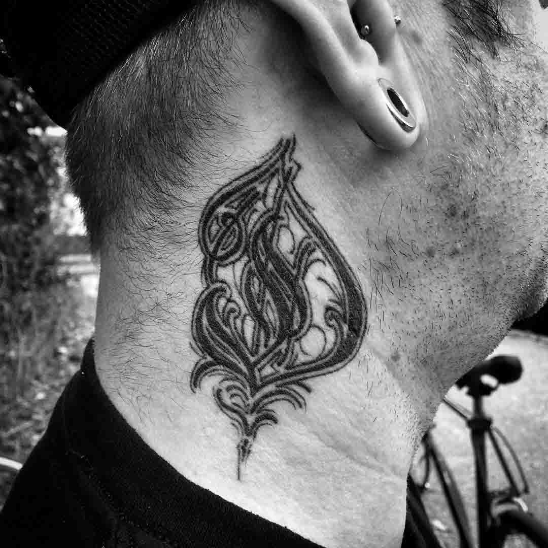 letter d tattoo on neck