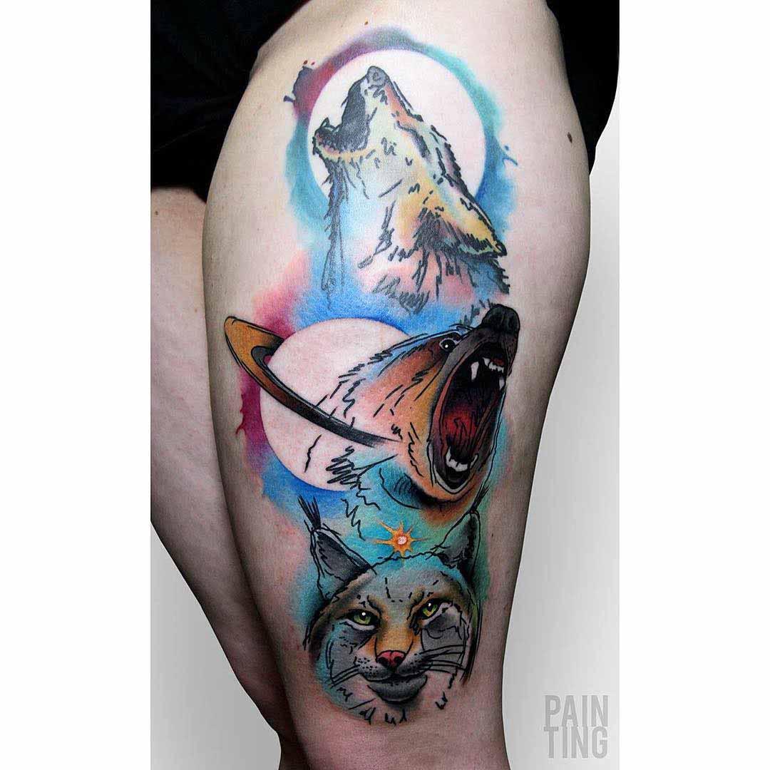 wild animals tattoo on hip