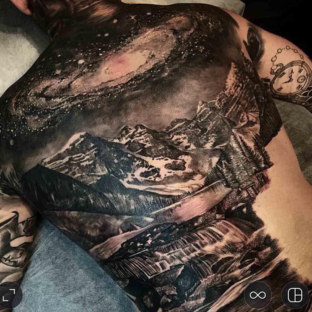 back tattoo landscape