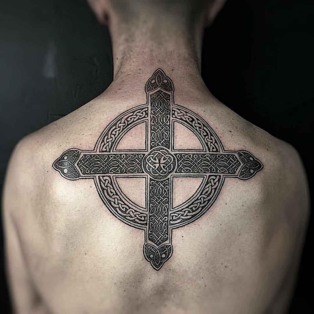 Celtic Cross Tattoo Back by blinktattoo_