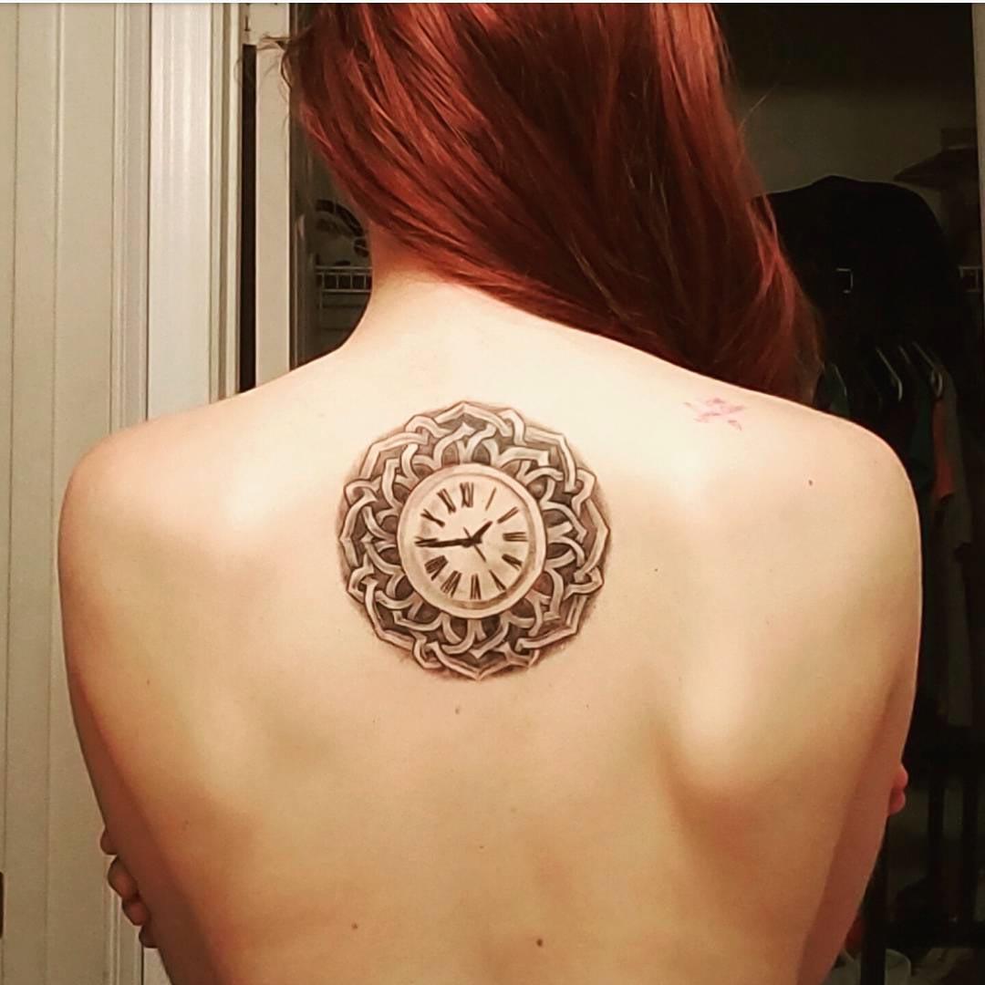 Celtic Themed Clock Tattoo on Back